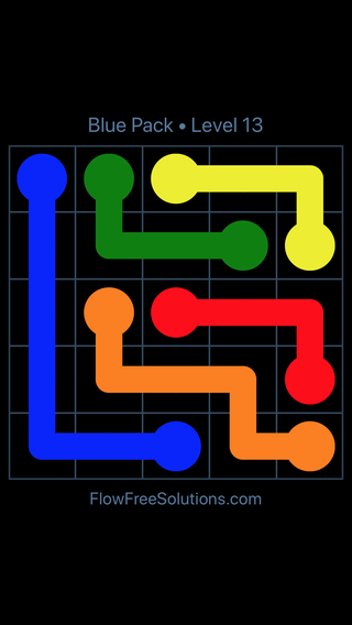 Solution and Answer to the Puzzle for Flow Free Blue Pack Level 13