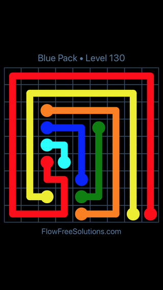 Solution and Answer to the Puzzle for Flow Free Blue Pack Level 10