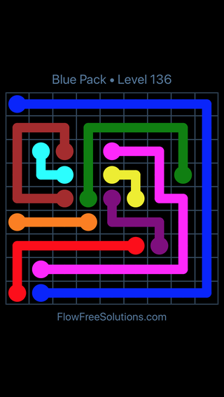 Solution and Answer to the Puzzle for Flow Free Blue Pack Level 16