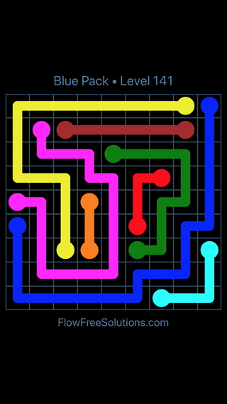 Solution and Answer to the Puzzle for Flow Free Blue Pack Level 21