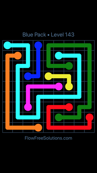 Solution and Answer to the Puzzle for Flow Free Blue Pack Level 23