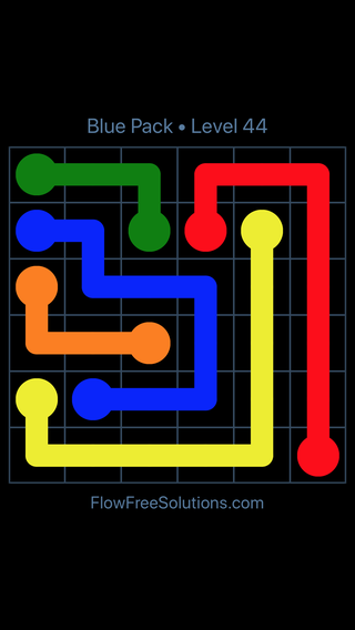 Solution and Answer to the Puzzle for Flow Free Blue Pack Level 14