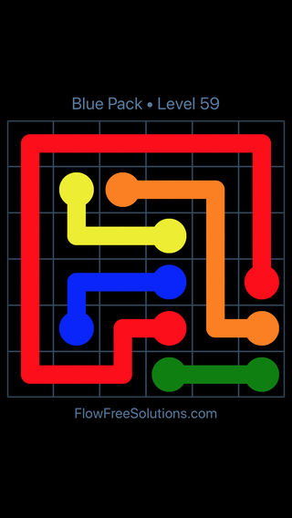 Solution and Answer to the Puzzle for Flow Free Blue Pack Level 29