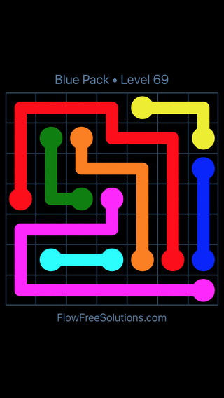 Solution and Answer to the Puzzle for Flow Free Blue Pack Level 9
