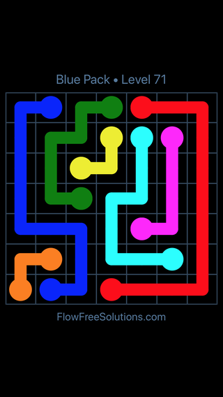 Solution and Answer to the Puzzle for Flow Free Blue Pack Level 11