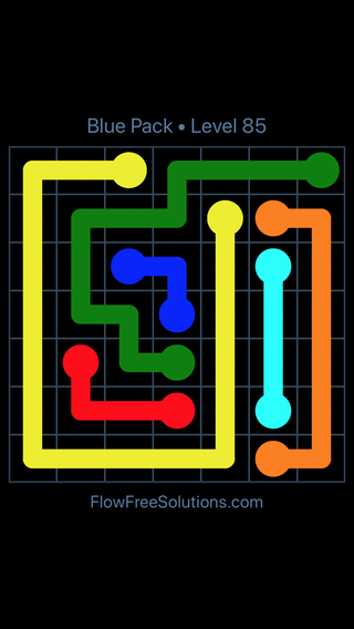 Solution and Answer to the Puzzle for Flow Free Blue Pack Level 25