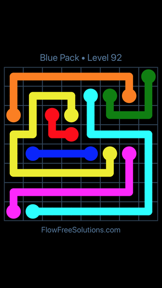 Solution and Answer to the Puzzle for Flow Free Blue Pack Level 2