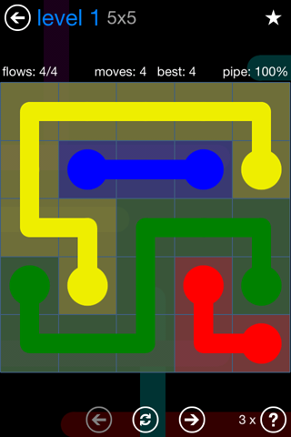 Solution and Answer to the Puzzle for Flow Bonus Pack Set 5x5 Level 1