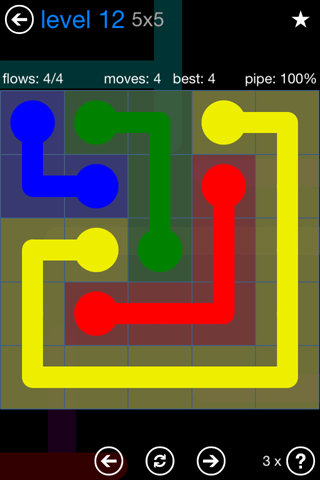 Solution and Answer to the Puzzle for Flow Bonus Pack Set 5x5 Level 12
