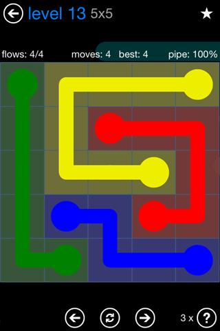 Solution and Answer to the Puzzle for Flow Bonus Pack Set 5x5 Level 13