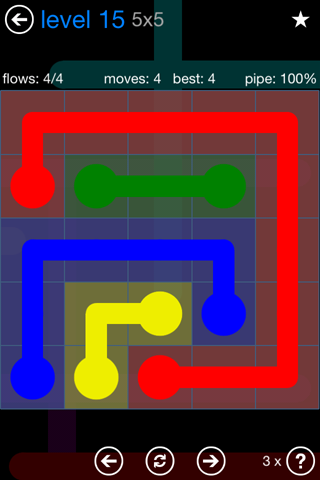 Solution and Answer to the Puzzle for Flow Bonus Pack Set 5x5 Level 15