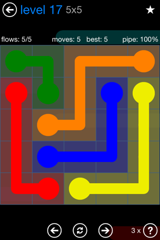 Solution and Answer to the Puzzle for Flow Bonus Pack Set 5x5 Level 17