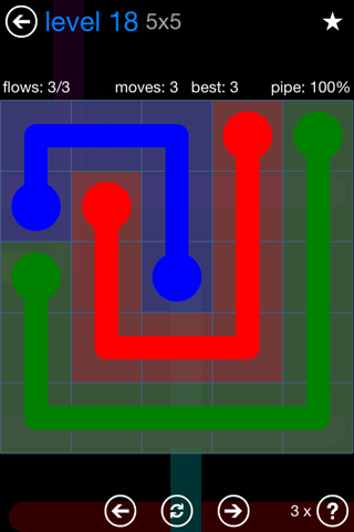 Solution and Answer to the Puzzle for Flow Bonus Pack Set 5x5 Level 18