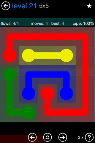 Solution and Answer to the Puzzle for Flow Bonus Pack Set 5x5 Level 21