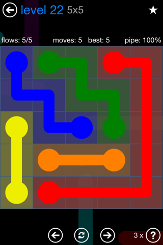 Solution and Answer to the Puzzle for Flow Bonus Pack Set 5x5 Level 22