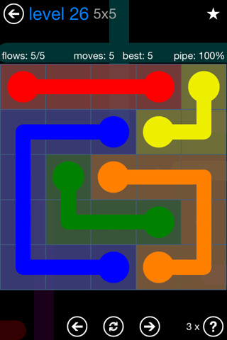 Solution and Answer to the Puzzle for Flow Bonus Pack Set 5x5 Level 26