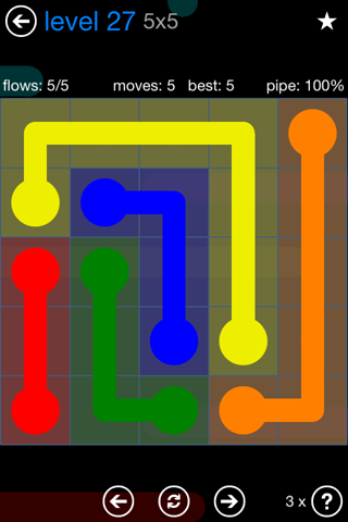 Solution and Answer to the Puzzle for Flow Bonus Pack Set 5x5 Level 27