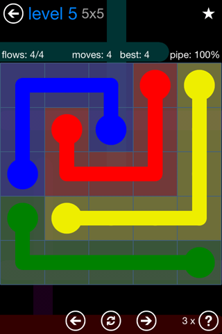 Solution and Answer to the Puzzle for Flow Bonus Pack Set 5x5 Level 5