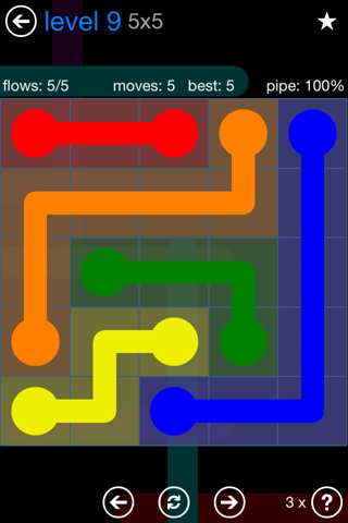 Solution and Answer to the Puzzle for Flow Bonus Pack Set 5x5 Level 9