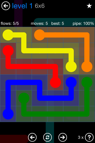 Solution and Answer to the Puzzle for Flow Bonus Pack Set 6x6 Level 1