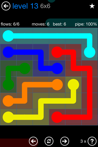 Solution and Answer to the Puzzle for Flow Bonus Pack Set 6x6 Level 13
