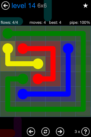 Solution and Answer to the Puzzle for Flow Bonus Pack Set 6x6 Level 14