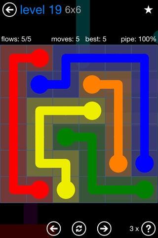 Solution and Answer to the Puzzle for Flow Bonus Pack Set 6x6 Level 19
