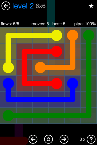 Solution and Answer to the Puzzle for Flow Bonus Pack Set 6x6 Level 2