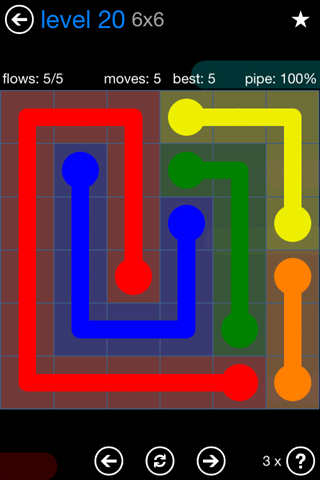Solution and Answer to the Puzzle for Flow Bonus Pack Set 6x6 Level 20