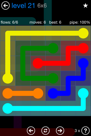 Solution and Answer to the Puzzle for Flow Bonus Pack Set 6x6 Level 21