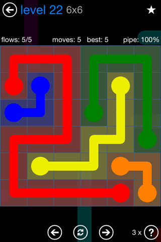 Solution and Answer to the Puzzle for Flow Bonus Pack Set 6x6 Level 22