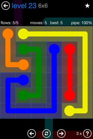 Solution and Answer to the Puzzle for Flow Bonus Pack Set 6x6 Level 23