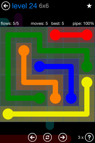 Solution and Answer to the Puzzle for Flow Bonus Pack Set 6x6 Level 24