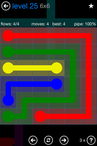 Solution and Answer to the Puzzle for Flow Bonus Pack Set 6x6 Level 25
