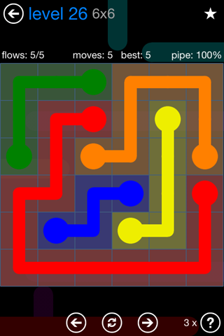 Solution and Answer to the Puzzle for Flow Bonus Pack Set 6x6 Level 26