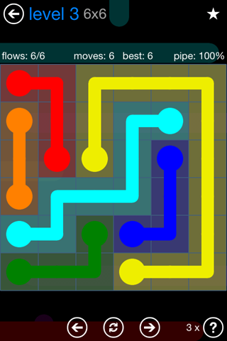 Solution and Answer to the Puzzle for Flow Bonus Pack Set 6x6 Level 3