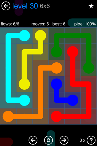 Solution and Answer to the Puzzle for Flow Bonus Pack Set 6x6 Level 30