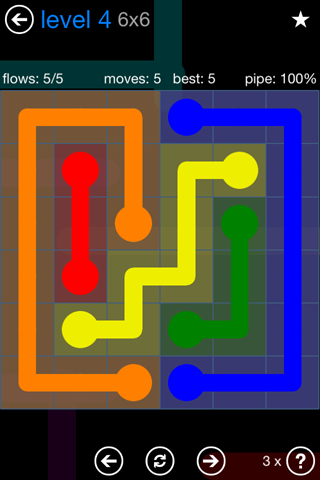 Solution and Answer to the Puzzle for Flow Bonus Pack Set 6x6 Level 4