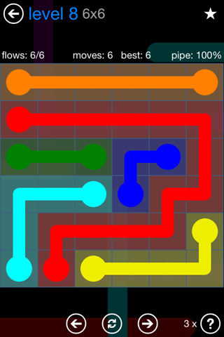 Solution and Answer to the Puzzle for Flow Bonus Pack Set 6x6 Level 8