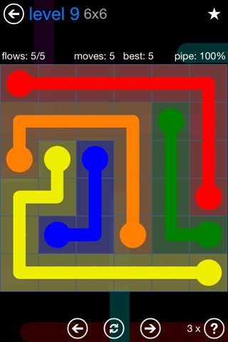 Solution and Answer to the Puzzle for Flow Bonus Pack Set 6x6 Level 9