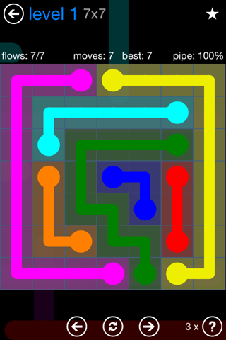 Solution and Answer to the Puzzle for Flow Bonus Pack Set 7x7 Level 1