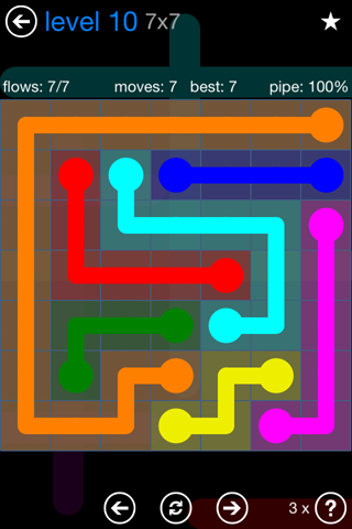 Solution and Answer to the Puzzle for Flow Bonus Pack Set 7x7 Level 10