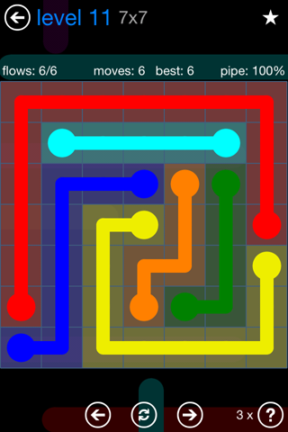 Solution and Answer to the Puzzle for Flow Bonus Pack Set 7x7 Level 11