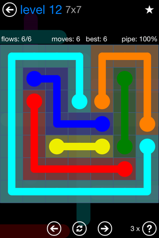 Solution and Answer to the Puzzle for Flow Bonus Pack Set 7x7 Level 12