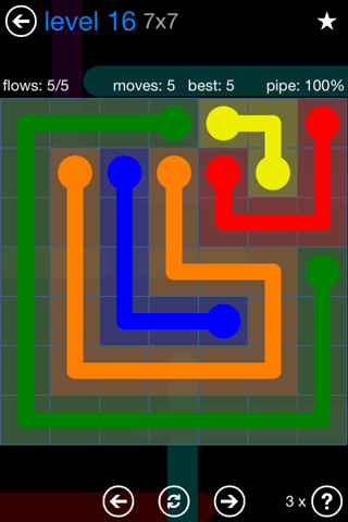 Solution and Answer to the Puzzle for Flow Bonus Pack Set 7x7 Level 16