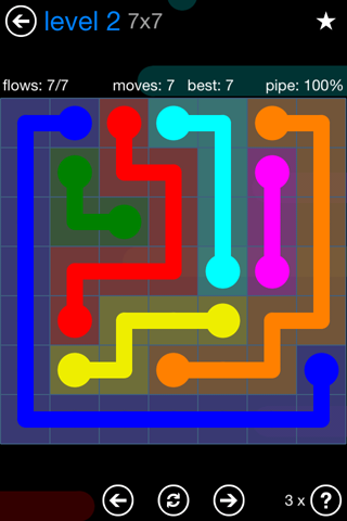 Solution and Answer to the Puzzle for Flow Bonus Pack Set 7x7 Level 2