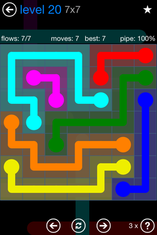 Solution and Answer to the Puzzle for Flow Bonus Pack Set 7x7 Level 20