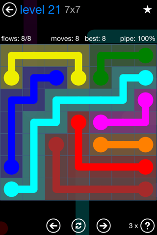 Solution and Answer to the Puzzle for Flow Bonus Pack Set 7x7 Level 21