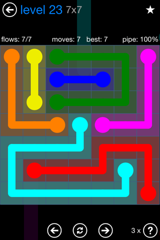 Solution and Answer to the Puzzle for Flow Bonus Pack Set 7x7 Level 23