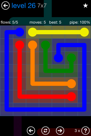 Solution and Answer to the Puzzle for Flow Bonus Pack Set 7x7 Level 26